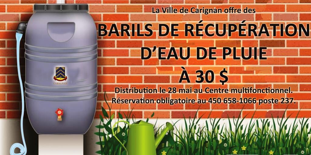barils de r cup ration d 39 eau de pluie 30 ville de carignan. Black Bedroom Furniture Sets. Home Design Ideas
