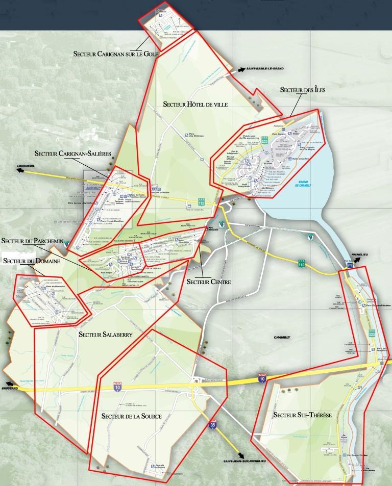 secteurs de la ville de Carignan